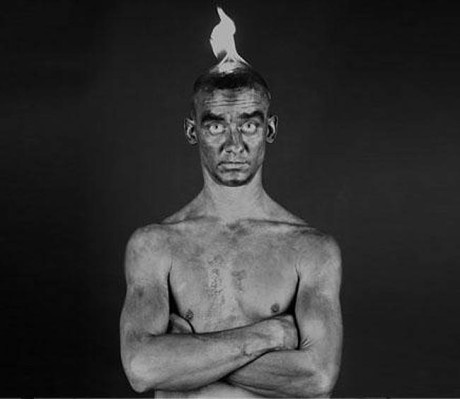 fred-cray-black-and-white-self-portrait-on-fire_collabcubed